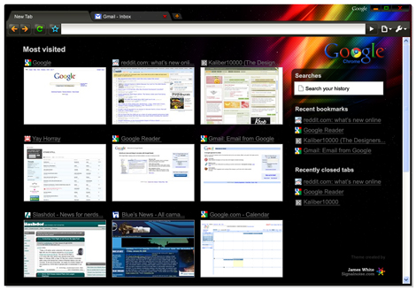 Google Chrome theme by James White