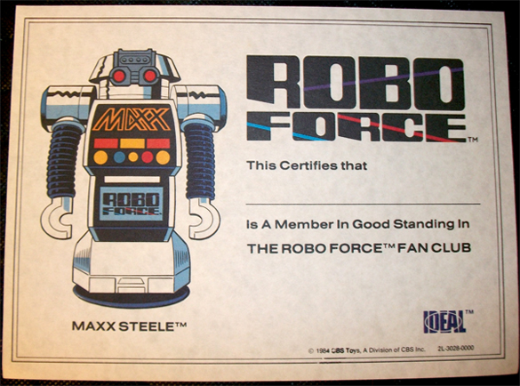 Robo Force Fan Club Certificate