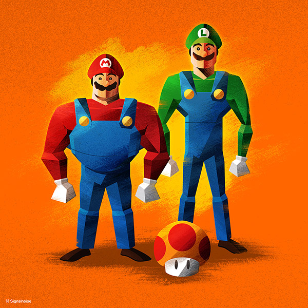 Mario Brothers illustration by James White