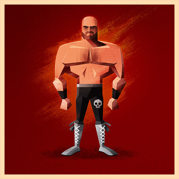 Wrestler illustration by James White